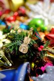 Colorful assortment of Christmas ornaments with blurry background royalty free stock photo