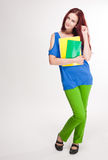 Very colorful cute student girl. Stock Photography