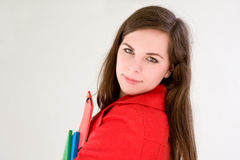 Very colorful cute young student. Stock Images