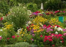 A very colorful garden in the austrian Salzkammergut. In summer Royalty Free Stock Photo