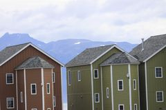 Colorful Homes on the Homer Spit Royalty Free Stock Photos