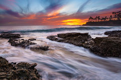 Very colorful sunset in Laguna Beach stock images