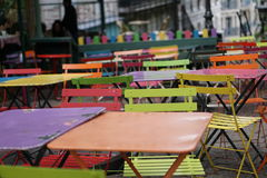 Very colorful tables and chairs Royalty Free Stock Images