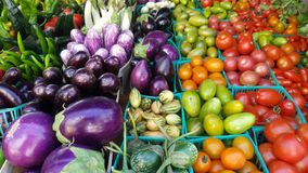 A lot of vegetables in boxes at the new york farmer`s market. Very colorful vegetables in farmer`s markert in new york stock photography