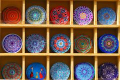 Very colorful and very varied mandalas sold as souvenirs in Heraklion royalty free stock photos