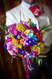 Very colorful wedding bouquet Stock Photography