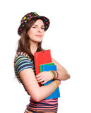 Very colorful young student. Stock Photo