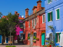 Burano - A very coloured village in Veneto, Venezia, Italy. Walking around this marvellous village in Veneto in an island in the middle of the lagoon with those Stock Images
