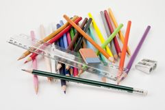 Very confused basic school supplies. On a white background royalty free stock photography