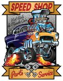Speed Shop Hot Rod Muscle Car Parts and Service Vintage Garage Sign Vector Illustration. Very cool detailed vector illustration cartoon of a custom hot rod vector illustration