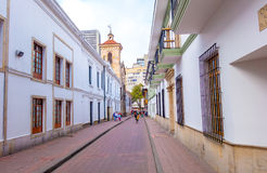 Very cozy charming street in old part of Bogota Royalty Free Stock Images