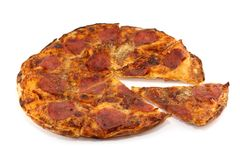 Very Crispy Home-made pepperoni pizza Royalty Free Stock Image