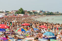 Very Crowded Beach Full Of People Royalty Free Stock Photo