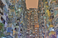 Very Crowded but colorful building group in Hong Kong Stock Photos
