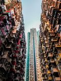 Very Crowded but colorful building group in Tai Koo, Hongkong.  stock photo