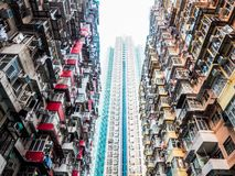Very Crowded but colorful building group in Tai Koo, Hongkong.  stock photography