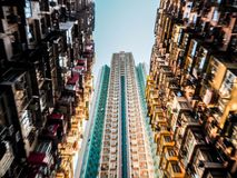 Very Crowded but colorful building group in Tai Koo, Hongkong.  royalty free stock photo