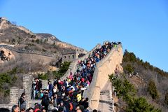 Very crowded Great Wall of China on a sunny day Stock Photo