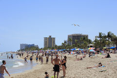 Very Crowded Las Olas Beach Royalty Free Stock Photos