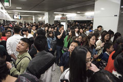 Very crowded subway station, Shanghai China Royalty Free Stock Images