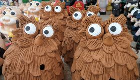 Very Curious Owls flock Royalty Free Stock Image