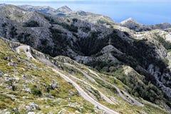 Very curvy road to Sveti Jure. Very curvy road to the steep mountain peak of Sveti Jure Royalty Free Stock Images