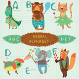Very cute alphabet.A, b, c, d, e, f letters. Alligator, bear, ca Royalty Free Stock Images