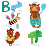 Very cute alphabet.B letter. Bee, beaver, bear, broccoli. Alphabet design in a colorful style Royalty Free Stock Photos