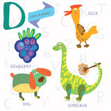 Very cute alphabet.D letter. Dewberry,duck,dog,dinosaur. Alphabet design in a colorful style Stock Photo