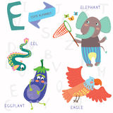 Very cute alphabet.E letter. Elephant, eagle, eggplant, eel. Alphabet design in a colorful style Stock Photography