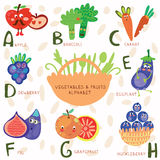 Very cute alphabet  of fruit and vegetables.A, b, c, d, e, f ,g,. Vector illustration of fruit and vegetables. . EPS 10 Royalty Free Stock Photography