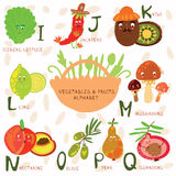 Very cute alphabet of fruit and vegetables. I, j, k, l,m, n ,o,p. Vector illustration of fruit and vegetables Stock Images
