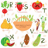Very cute alphabet of fruit and vegetables. R, s,t, u, v, w ,x,y. Vector illustration of fruit and vegetables Stock Photos