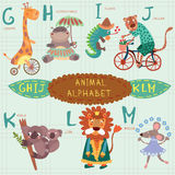 Very cute alphabet. G, h, i, j, k, l, m letters. Giraffe, hippop Royalty Free Stock Image