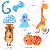 Very cute alphabet. G letter. Ghost,gopher, giraffe, grapefruit. Alphabet design in a colorful style Royalty Free Stock Photo