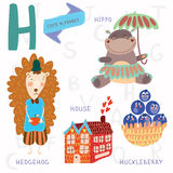 Very cute alphabet.H letter. Hedgehog, house, hippopotamus. Alphabet design in a colorful style vector illustration