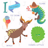 Very cute alphabet.I letter. Iceberg lettuce, iguana, ice cream,. Alphabet design in a colorful style Stock Photography