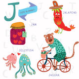 Very cute alphabet. J letter. Jam, jalapeno, jellyfish, jaguar. Alphabet design in a colorful style Royalty Free Stock Image