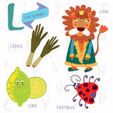Very cute alphabet.L letter.Leeks, lion, ladybug, lime. Royalty Free Stock Photos