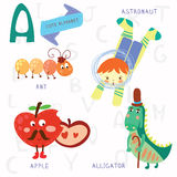 Very cute alphabet.A letter. Ant, astronaut, apple, alligator. Stock Photography