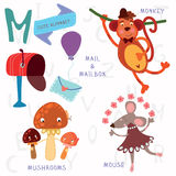 Very cute alphabet.M letter.Monkey, mushrooms, mail, mailbox, mo. Alphabet design in a colorful style Stock Photos