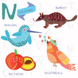 Very cute alphabet.N letter.Narwhal,numb at,Nightingale, nectari Stock Image