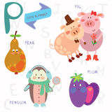 Very cute alphabet.P letter. Pear, pig, penguin, plum. Royalty Free Stock Image