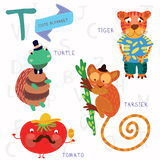 Very cute alphabet.T letter. Tarsier,Turtle, tomatoes, tiger. Alphabet design in a colorful style royalty free illustration