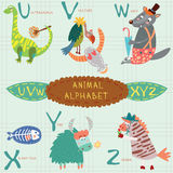 Very cute alphabet.U, v, w, x, y, z letters. Cute animal alphabet. . EPS 10 Royalty Free Stock Photo