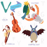 Very cute alphabet.V letter. Vulture,vampire bat,violin,vanilla. Royalty Free Stock Photography