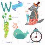 Very cute alphabet.W letter. Wolf, wasabi, whale,watch. Alphabet design in a colorful style Royalty Free Stock Photo