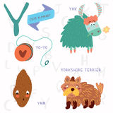 Very cute alphabet. Y letter. Yorkshire terrier,yam,yo-yo,yak. Royalty Free Stock Photo