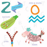 Very cute alphabet.Z letter. Zebra, zero, zigzag, zucchini, zipe. Alphabet design in a colorful style Stock Photography
