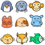 Very cute animal head doodles Stock Photography